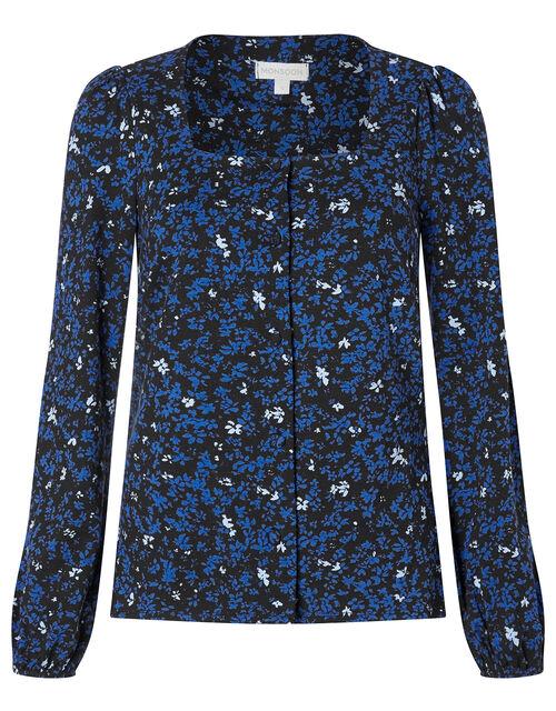 Ditsy Floral Long Sleeve Jersey Top, Black (BLACK), large