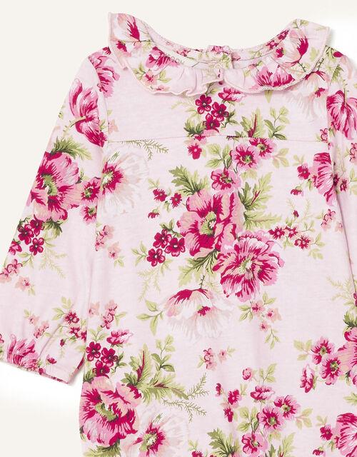 Newborn Floral Sleepsuit and Hat Set, Pink (PINK), large