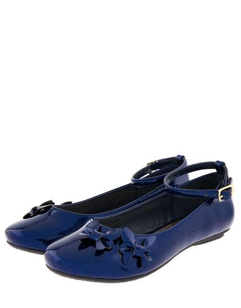 Butterfly Patent Ballerina Flats Blue, Blue (NAVY), large