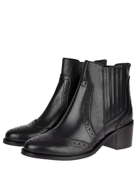Brogue Leather Ankle Boots Black, Black (BLACK), large