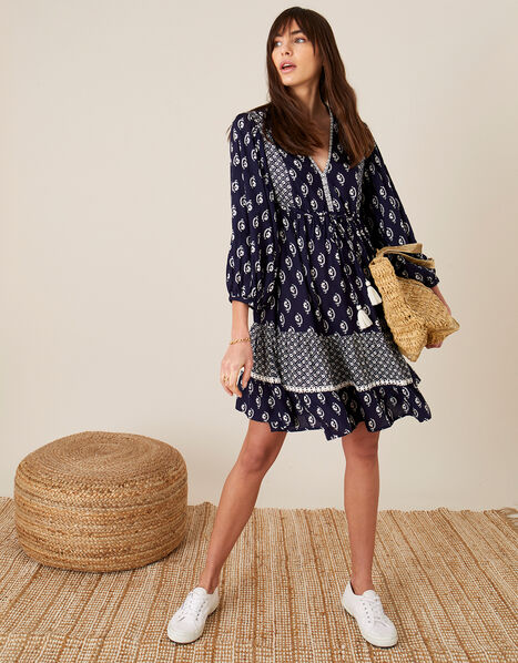 Daisy Print Dress in LENZING™ ECOVERO™ Blue, Blue (NAVY), large