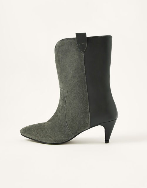 Winnie Western Mid-Calf Leather Boots, Grey (GREY), large