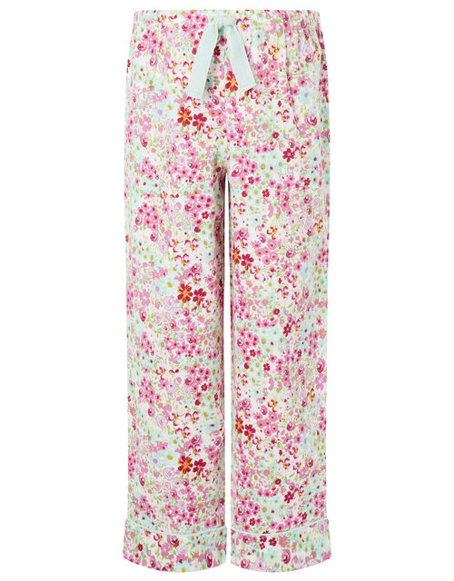 Unicorn Floral PJ Set in Organic Cotton, Camel (OATMEAL), large