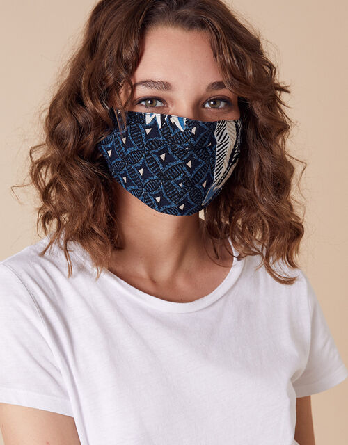 Geo Print Face Mask in Pure Cotton, , large