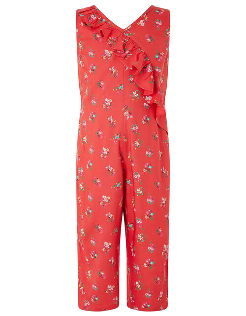Grace Floral Ruffle Jumpsuit in LENZING™ ECOVERO™, Red (RED), large