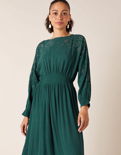Star Heat-Seal Gem Midi Dress, Green (DARK GREEN), large