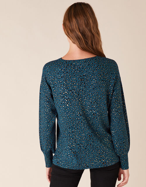 Foil Animal Print Jumper with Sustainable Viscose, Teal (TEAL), large
