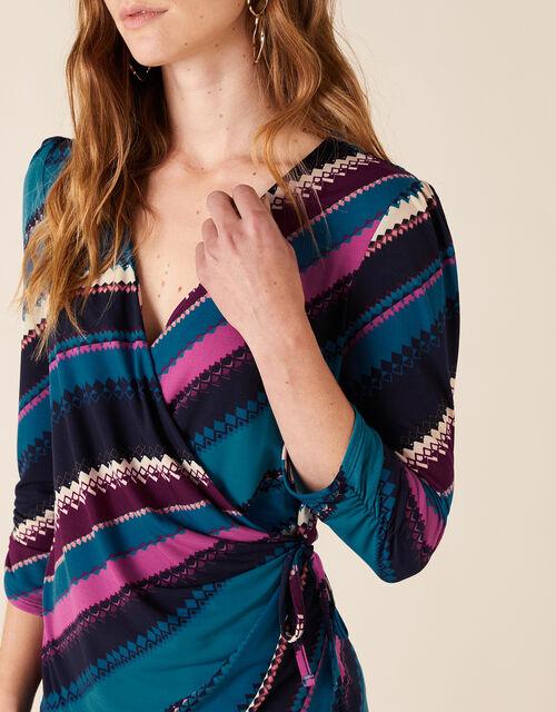 Stripe Print Jersey Wrap Top, Teal (TEAL), large