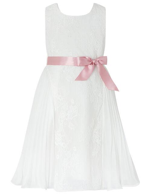 Khloe Lace and Pleated Chiffon Dress, Ivory (IVORY), large