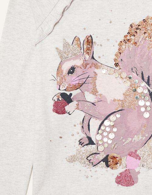Glitter Squirrel Long Sleeve Top, Grey (GREY), large