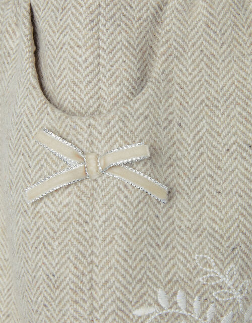 Baby Tweed Embroidered Dress, Brown (TAUPE), large