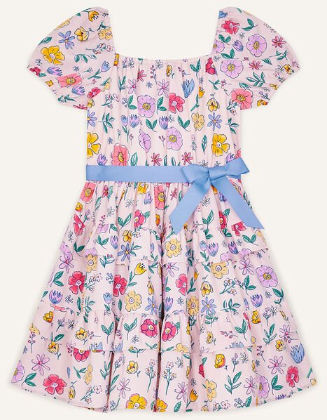 Floral Print Tiered Dress Pink, Pink (PALE PINK), large
