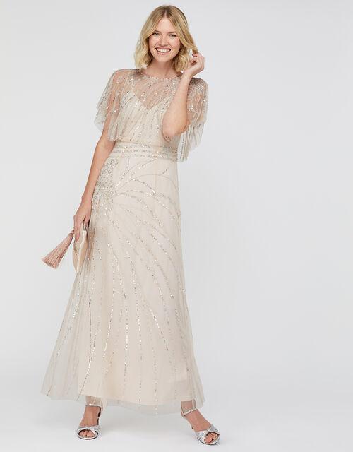 Florence Embellished Flutter Sleeve Maxi Dress, Nude (NUDE), large
