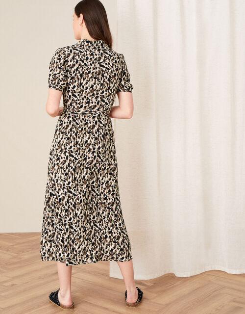 Animal Print Shirt Dress, Brown (BROWN), large