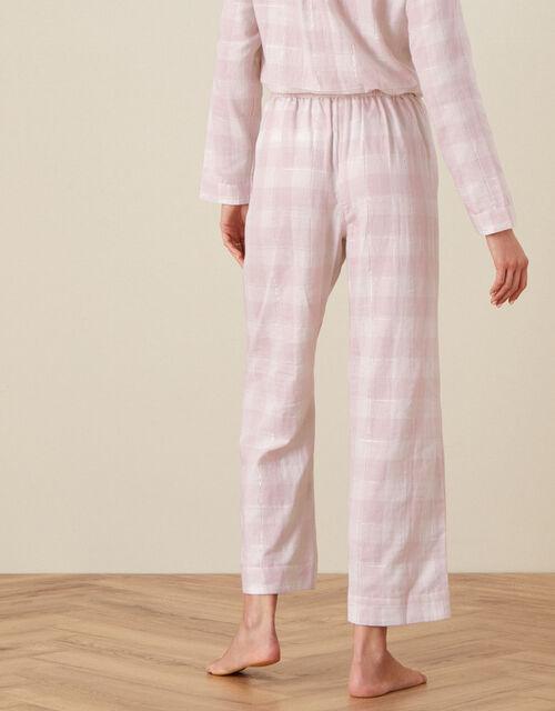 Check Wide Leg PJ Trousers, Pink (BLUSH), large