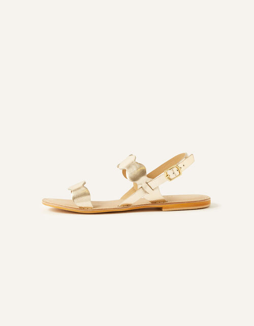 Marley Metallic Leather Sandals, Gold (GOLD), large