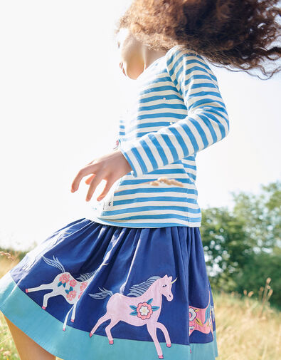 Applique Horse Scene Skirt Blue, Blue (BLUE), large