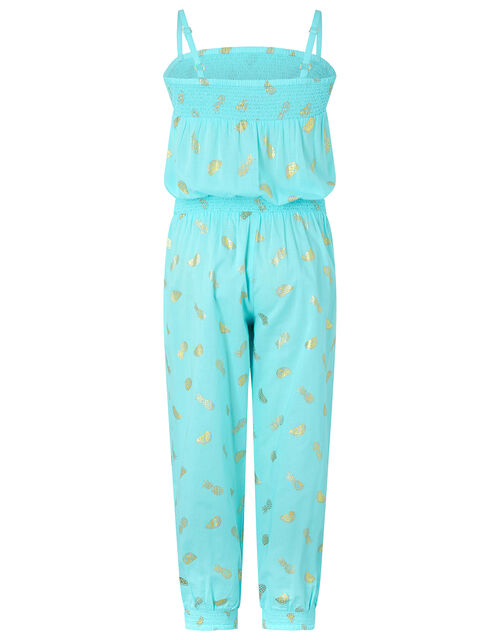 Penny Pineapple and Watermelon Jumpsuit in Pure Cotton, Blue (TURQUOISE), large