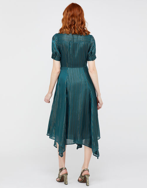 Elodie Metallic Stripe Dress, Teal, large
