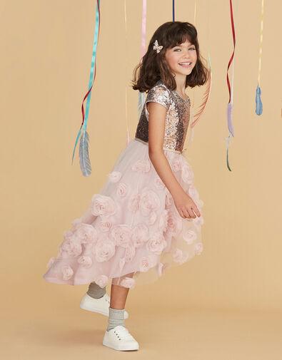 Sequin 3D Rose Hi-Low Dress Pink, Pink (DUSKY PINK), large