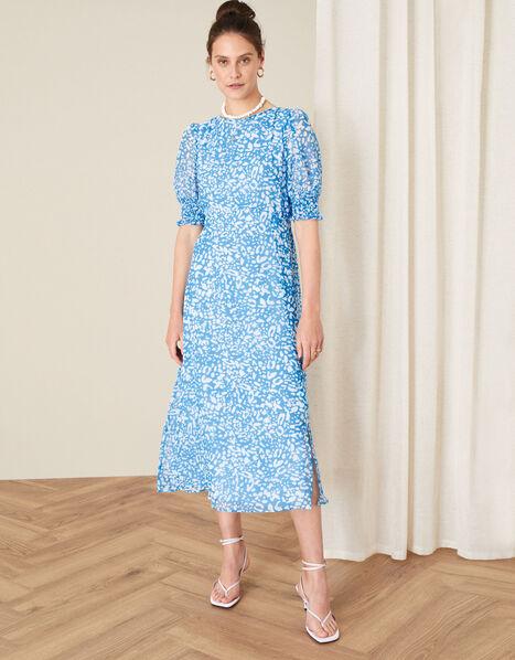 Annabelle Animal Midi Dress Blue, Blue (BLUE), large