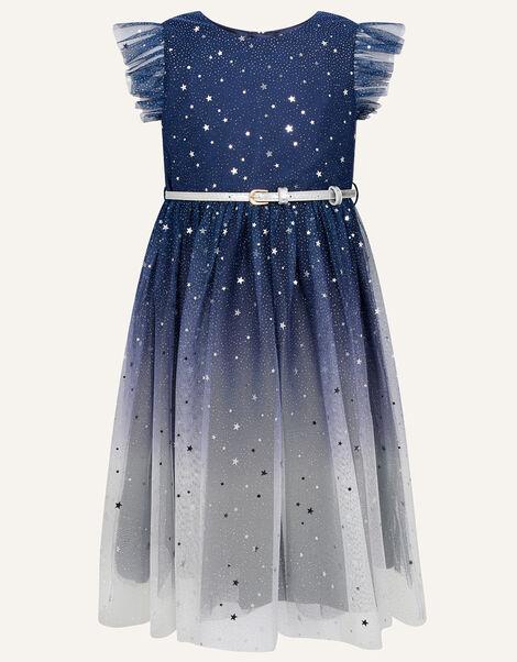 Star Print Ombre Dress Blue, Blue (NAVY), large
