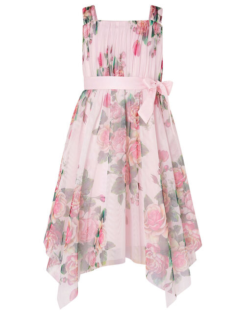 Rose Print Tulle Hanky Hem Dress , Pink (PINK), large