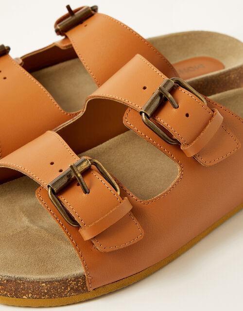 Lola Double Strap Leather Sandals, Tan (TAN), large