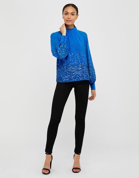 Leah Sequin Blouse Blue, Blue (BLUE), large