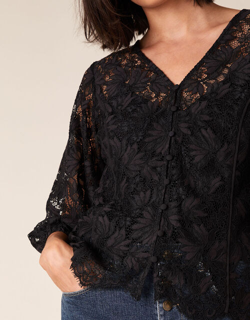 Floral Lace Button-Down Top, Black (BLACK), large