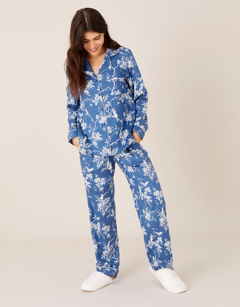 Floral Print Pyjama Set Blue, Blue (BLUE), large