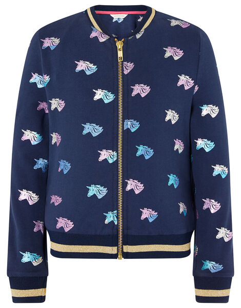Rainbow Foil Unicorn Bomber Jacket Blue, Blue (NAVY), large