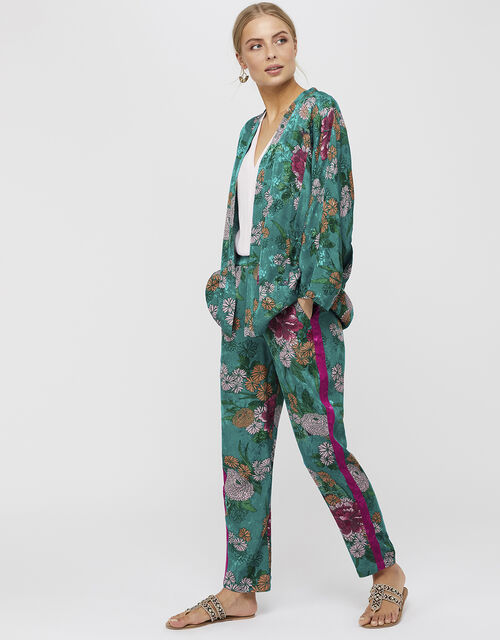 Ola Oriental Print Trousers, Teal, large