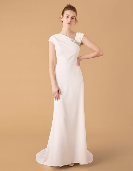 Tess Embellished Brooch Bridal Dress Ivory, Ivory (IVORY), large