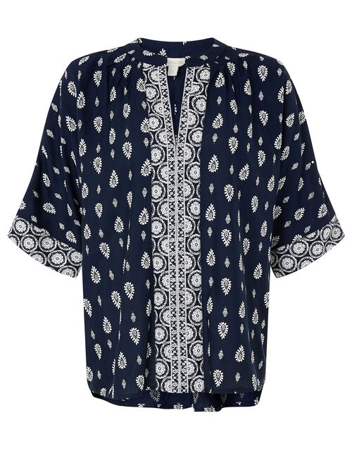 Heritage Print Top in LENZING™ ECOVERO™, Blue (NAVY), large
