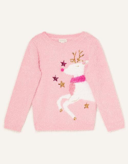 Reindeer Fluffy Jumper, Pink (PINK), large