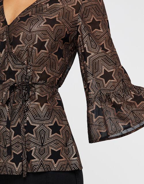 Antares Star Foil Print Top, Black, large