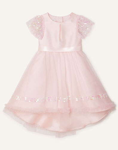 Sequin Duchess Twill High-Low Dress Pink, Pink (PINK), large