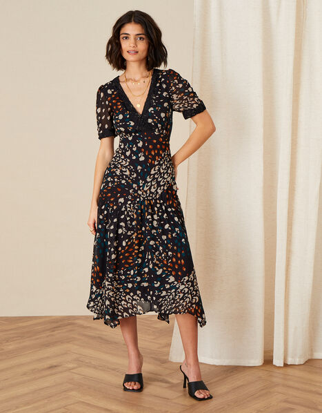 Fia Feather Print Hanky Hem Dress Black, Black (BLACK), large