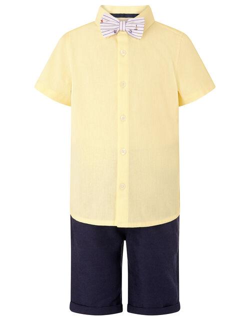 Louis Shirt, Shorts and Bow Tie Set, Yellow (LEMON), large