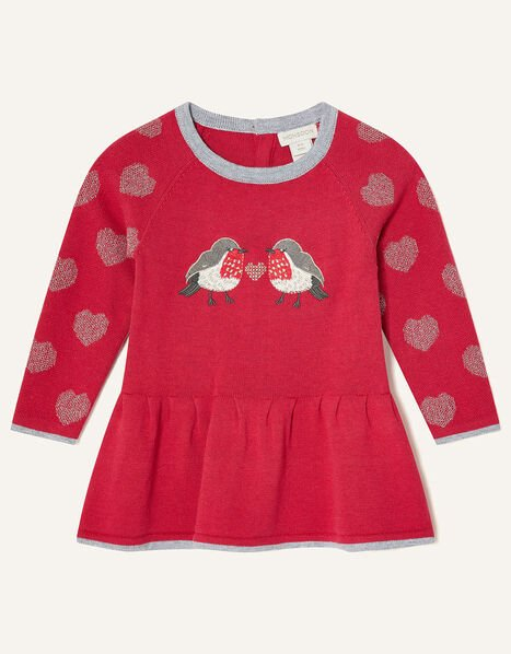Newborn Robin Knit Dress Red, Red (RED), large