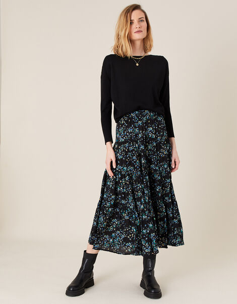 Floral Tiered Midi Skirt in LENZING™ ECOVERO™ Black, Black (BLACK), large