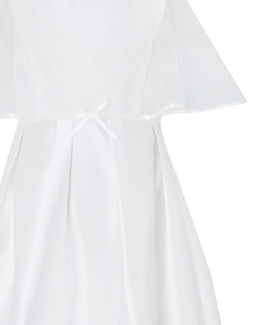 Sherry White Cape Occasion Dress, White (WHITE), large