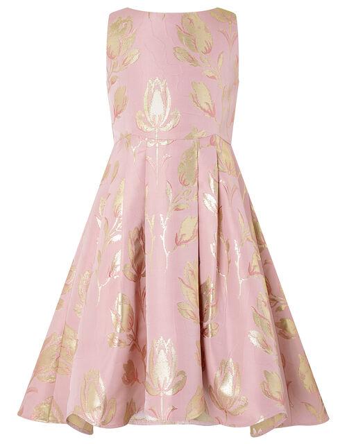 Tulip Jacquard Occasion Dress, Pink (PINK), large