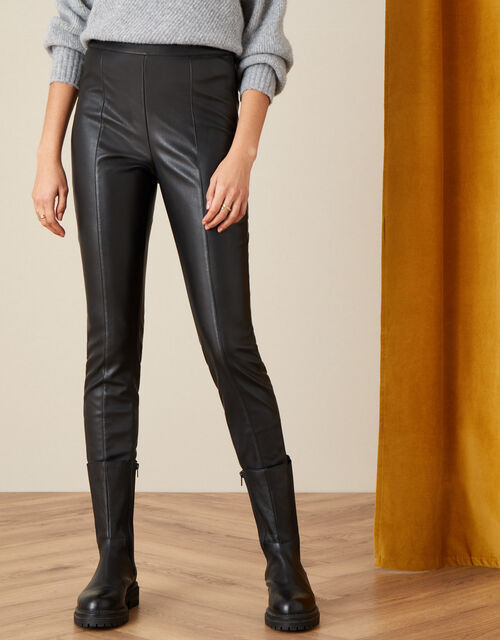 Payton PU Leggings, Black (BLACK), large