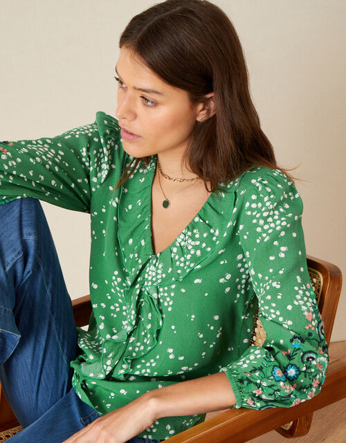 Embroidered Dot Print Blouse, Green (GREEN), large