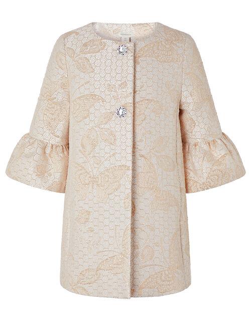 Honey Jacquard Crystal Button Jacket, Gold (GOLD), large
