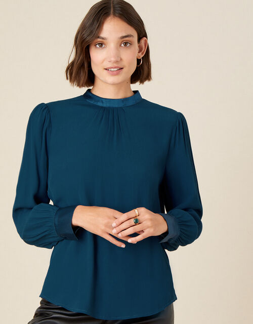 High Neck Pleated Long Sleeve Blouse, Teal (TEAL), large