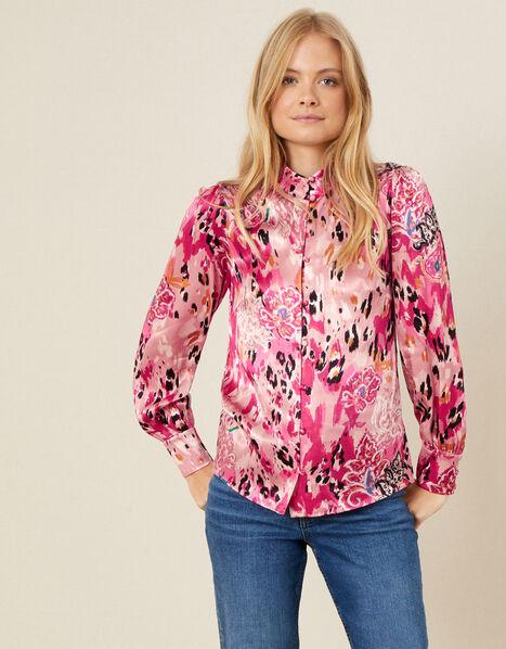 Cameia Animal Print Satin Blouse Pink, Pink (PINK), large