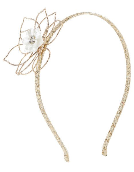Glitter Wire Flower Headband, , large